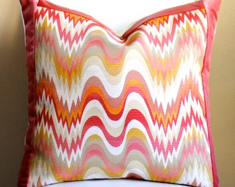 Designer Pillow Cover-22x22- Acid Palm-Nectar with Belgium Velvet Border-Jonathan Adler-Spring Pillow