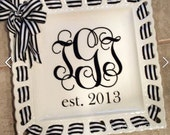 """Personalized 12"""" Square Ribbon Plate ~ Monogrammed Ribbon Plate~ Ribbon Plate~ Custom Wedding Gift~ Monogrammed Wedding Ribbon Plate"""