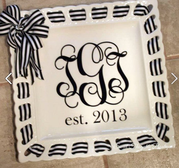 "Personalized 12"" Square Ribbon Plate ~ Monogrammed Ribbon Plate~ Ribbon Plate~ Custom Wedding Gift~ Monogrammed Wedding Ribbon Plate"
