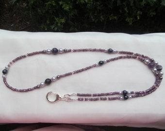 Purple ID Badge Beaded Lanyard Necklace Purple ID Badge Holder