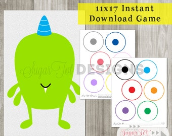 Pin the Eye on the Monster Game - INSTANT DOWNLOAD - PRINTABLE