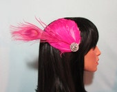Hot Pink and White Goose Feather Fascinator