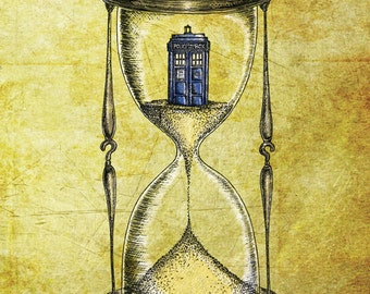 Doctor Who A4 print - Time Flies - Dr Who Tardis Hourglass inspired photo print art poster