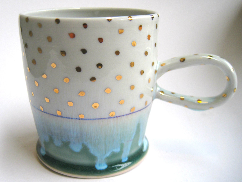 Made to order gold polka dot porcelain mug for Gold polka dot china
