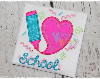 Back to School - I Love School - Highlighter - Neon - Embroidered Appliqued Shirt
