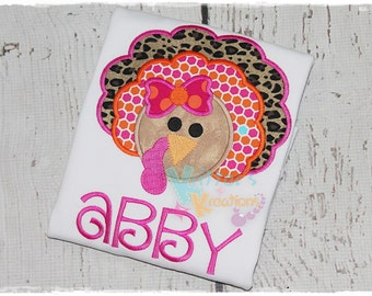 Girly Turkey - Thanksgiving - Fall Embroidered Appliqued Shirt
