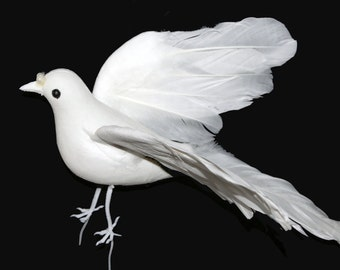 1 Pc 9 Inch White Flocked Dove (Deidra)