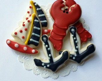Mini Nautical Cookies - Anchor, Lobster, Sailboat - Red and Navy Blue - Bite Size - 2 1/2 Dozen Mini Cookies