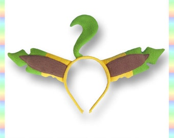 Leafeon Ears Headband - Fleece Anime Geek Gift Eevee Pokemon Yellow Green Cute Kawaii Cosplay Ears Adult Teen Child