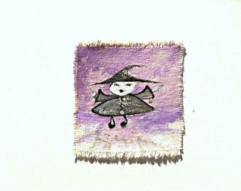Original Wearable Art Canvas Patch Purple Sky Witch