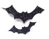 Glitter Bat Hairclip Pair