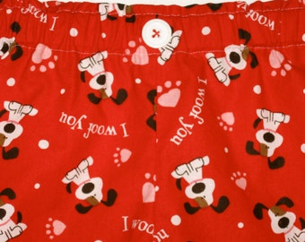 """Valentine Pajama Pants - Children's Lounge Pants - Cute Puppy Dog """"I Woof You"""" - Red, Pink, White & Brown - Unisex Print - Family Pajamas"""
