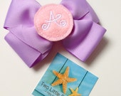Monogrammed Initial Hair Bow Clip, Choose Your Color