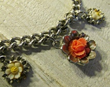 A Different Silver Tone Bracelet, Chain Link Bracelet, Attached Orange and White Flowers, Jewelry, Graduation, women
