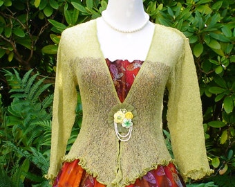 Olive Green Knitted Bolero Jacket
