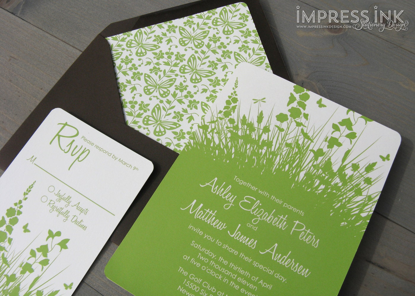Secret Garden Wedding Invitation Sample Flat Or Pocket Fold