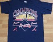 Vintage 1991 ATLANTA BRAVES MLB Championship Baseball T-Shirt 1990s Excellent!
