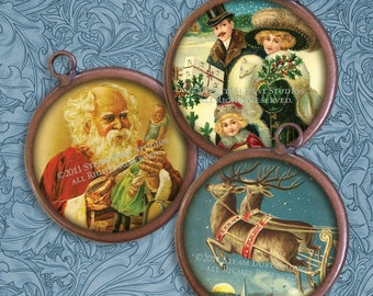 Victorian Christmas - 2 Inch Circles - Old Fashioned Christmas - Digital Collage Sheet - Instant Download and Print