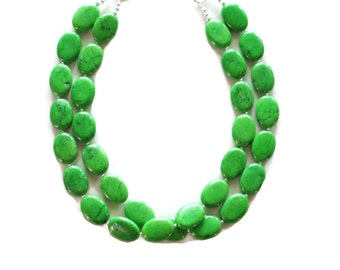 Green Turquoise Oval Necklace - Green Necklace - Green Bridesmaid Necklace - Green Wedding Jewelry - Green Accessories - Fall Jewelry