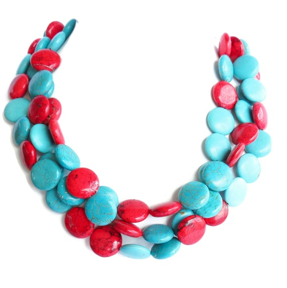 Turquoise Necklace - Turquoise and Red Statement Necklace