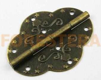 10Pcs Antique Brass Flower Hinge Small Hinge Box Hinge 69x53mm (HINGE13)