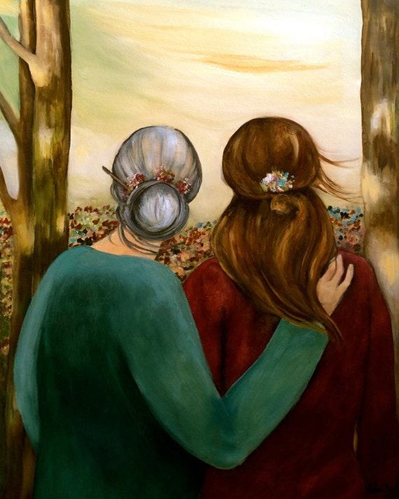 Special Mother and daughter at sunset in the woods  art print