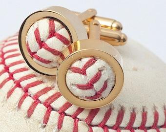 GOLD Game Used Baseball Cufflinks (2 Pairs)