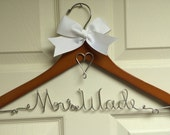 Personalized wire bridal clothes hanger wedding dress