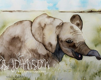 Large watercolor painting of Baby Elephant nursery art 12x16 original