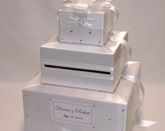 Elegant Custom Made Wedding Card Box- Rhinestone accents