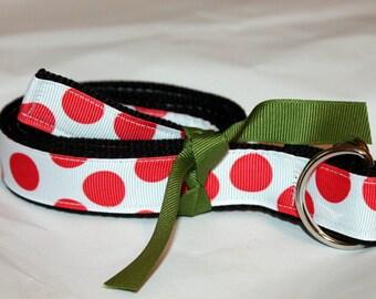Polka Dot Belt Kids D Ring Red Polka dot Belt Girls Red and Black Belt Girls Ribbon Belt Children's REd and Black Belt School Uniform Belt