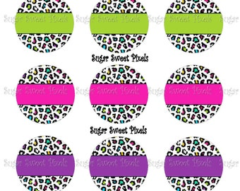 INSTANT DOWNLOAD  multi color Leopard blank  1 inch Circle Bottlecap Images 4x6 sheets
