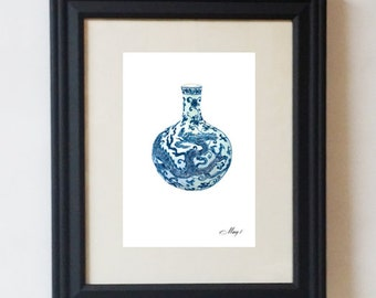 Chinoiserie Ming Vase Blue and White Dragon Vase Print 5x7