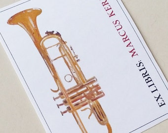 Trumpet  Bookplate Personalized for the Music Lover  - Set of 24
