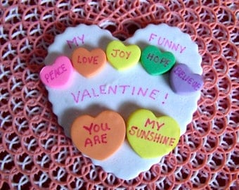 Polymer Clay Conversation hearts Valentine's Day brooch