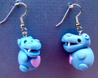 Polymer Clay Mama and baby blue hippopotamus Earrings