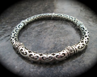 Silver filigree stretch bangle bracelet with ornate silver beads one size fits most silver bangle