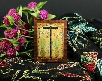 Santa Cruz Cross Mini Print Retablo on Copper