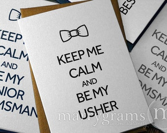 Will You Be My Groomsman Cards - Keep Me Calm Bow Tie - Best Man, Wedding Party- Fun Way to Ask Groomsmen, Usher, Ring Bearer (Set of 8)