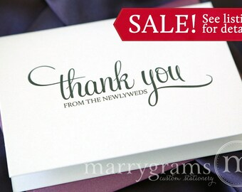 Wedding Thank You Cards from the Newlyweds -Wedding Thank You Notes - Thank You's from the Bride and Groom - Can be Customized! (Set of 100)