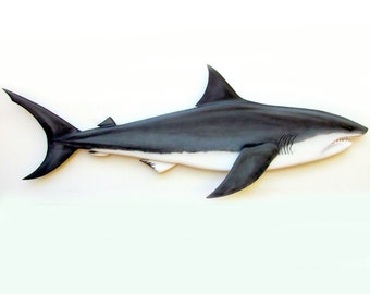 GREAT WHITE SHARK 36'' wood carving, shark decor, shark wall decor, nautical decor, coastal living decor, beach decor shark art, wood shark