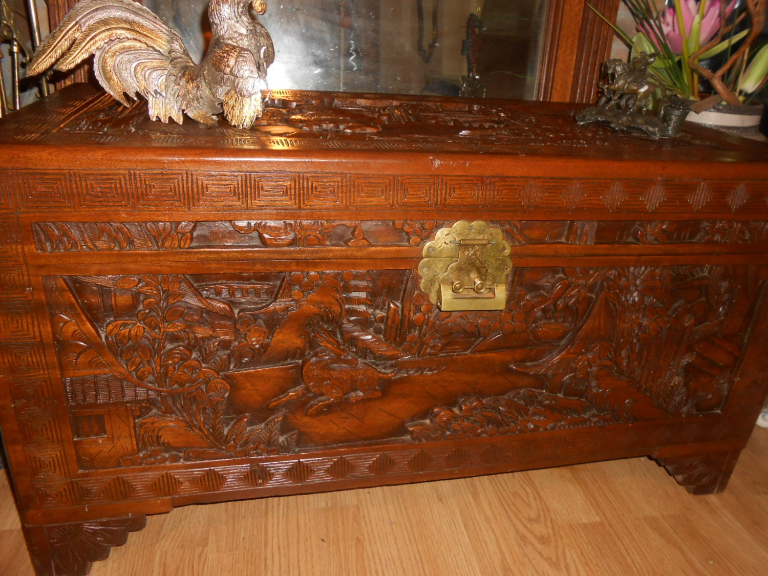 Chinese Chest Antique Hand Carved Wooden By Vintagemarisabel