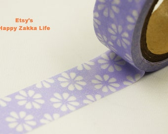 Japanese Washi Masking Tape - White Flower with Lilac  - 8 Yards