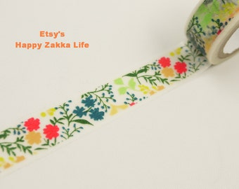 Japanese Washi Masking Tape - Colorful Flower Bed - 5.5 Yards