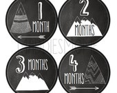 Monthly Baby Stickers Baby Boy or Girl Month Stickers Milestone Stickers Photo Stickers Chalkboard (Tribal Mountains Arrows)
