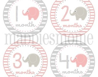 Monthly Stickers Baby Month Stickers Baby Girl Baby Shower Gift Milestone Stickers Monthly Stickers Animals (Elephants Pink Gray)