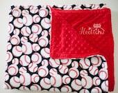 Baseball + Red Minky Blanket 5 Sizes