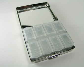 8 Day Pill Box Custom Engraved Personalized Large Size Silver Pill Box with Eight Compartments -Hand Engraved
