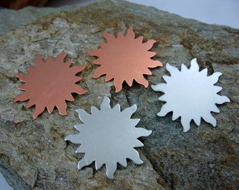6 Sun Blanks for Stamping - Copper or Aluminum, Ready to Ship!