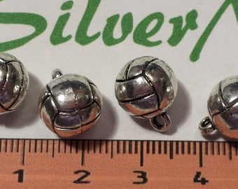 4 pcs per pack 10mm Solid Volley Ball Charms Antique Silver Lead free Pewter